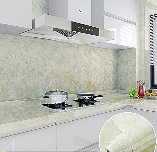 xiaoshun Papel de Contacto Estufa de la Etiqueta engomada de la Cocina con el Papel Tapiz Autoadhesivo de la Pared de la Pared de mármol Pegatina de azulejo-0.8 * 5m_[Jade Verde]