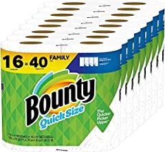 Pack contains 16 Family Rolls of Bounty Quick Size paper towels, equal to 40 Regular Rolls This pack contains 80 more sheets per pack which means 8 extra days worth of paper vs. Bounty Select A Size 16 Double Plus Rolls Estimated based on manufacture...