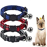 Collar Gatos Collares para Gatos de liberación rápida con Campana Ajustable y Seguro, diseño de Cuadros, Cachorros y Gatos, Paquete de 3