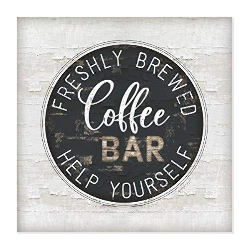 Freshly Brewed Coffee Bar Rustic Wood Wall Sign 12x12