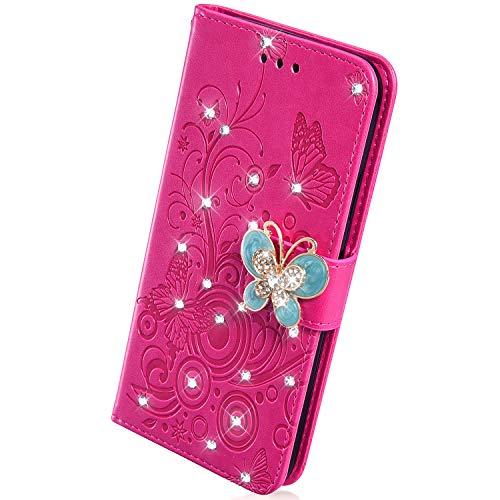 Herbests Kompatibel mit Samsung Galaxy S10 Handy Hülle Strass Diamant Glitzer Bling 3D Leder Schutzhülle Schmetterling Blume Muster Klapphülle Wallet Flip Brieftasche Tasche Case,Rose Pink