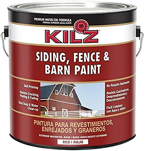 KILZ Exterior Siding, Fence, and Barn Paint, Red,...