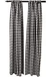 Buffalo Checkered Country Plaid Gingham, Black and White, Window Treatment Curtain, 1 Inch Checks Print, Set...