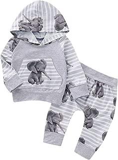 Pull /à Capuche /à Manches Longues avec imprim/é /él/éphant Animal pour Enfant Sensail b/éb/é Pyjama de Confort pour la Maison Pantalon /à Rayures Costume Deux pi/èces