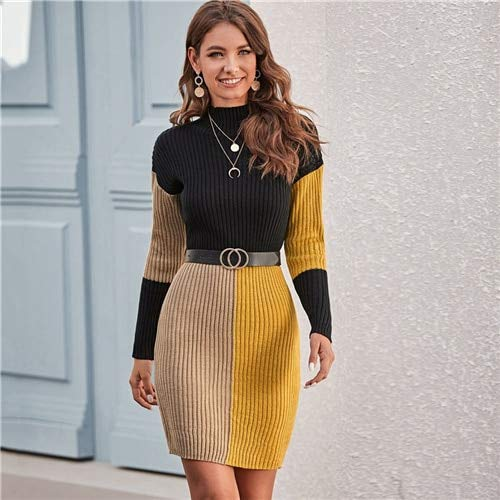 GMZA Color Block Rib-gebreide bodycon sweater jurk zonder riem vrouwen lente winter stand kraag gebreid elegante potloodjurken