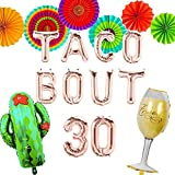 LaVenty 9 PCS Rose Gold Taco Bout 30 Balloons Nacho Average Thirty Balloon Fiesta 30th Birthday Decoration Taco Birthday Party Decoration Taco Party Decor