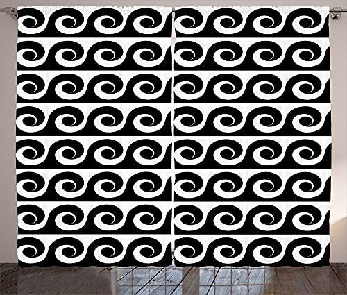 ABAKUHAUS Wellen - Cortina rústica monocromática con espirales de desplazamiento para salón, banda universal con trabillas y ganchos, 280 x 225 cm, color gris y blanco