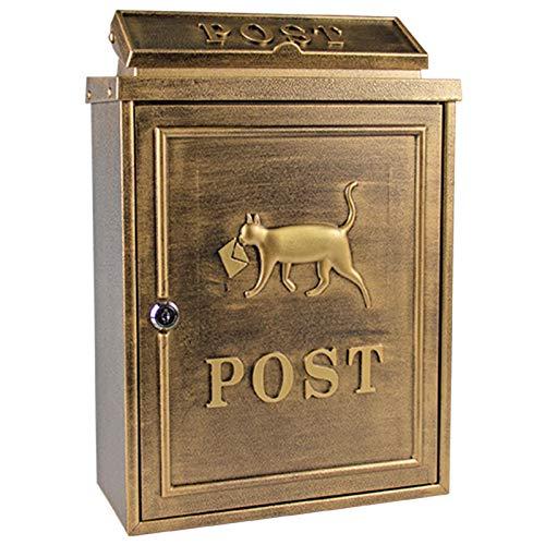 LXLA Briefkasten Schwarzer Briefkasten An Der Wand, Abschließbarer Metallbriefkasten mit 2 Schlüsseln und Schlitzdeckel, Nettes Messenger-Katzen-Design, (Color : Antique Gold)