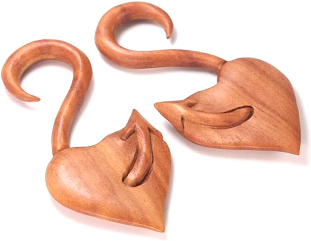 The Devils Tail Red Saba Wood Hanger Earring Organic Body Jewelry - 3mm-12mm - Price Per 1