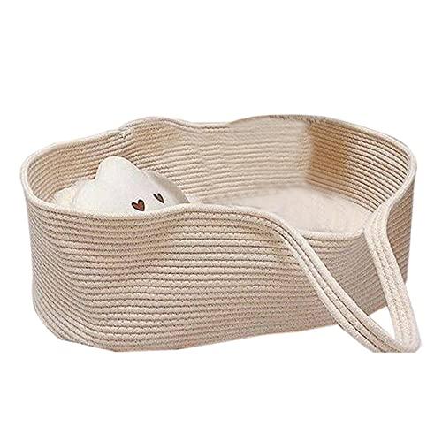 Yolispa Cama de bebé portátil de mano Moisés cesta de algodón cuerda infantil cama capazo para viajes, 70X40X25cm