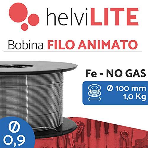 HelviLITE 21910109HL - Hilo animado (No Gas) para soldar, diámetro 0,9 mm, 1 kg, gris