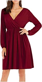 Big Sale BBesty Womens Casual Autumn Winter Long Sleeve Solid Above Knee Dress Party Dress,Travel,Work,Casual