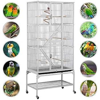 Yaheetech Grande Cage à Oiseaux 81 x 46,5 x 175,5 cm Volière Extérieur avec Pied sur Roulette pour Perroquet/Perruche/Canari/Parakeet/Calopsitte élégante/Pinson
