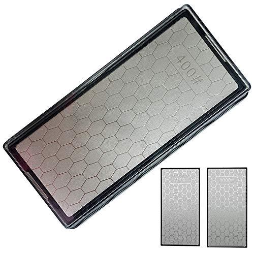 YCAMMIN Schleifstein,Anspitzer,doppelseitiger Diamantschleifstein - Fein / Dick mit Antirutschbasis (400/1000 #)