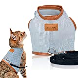 PiuPet® Katzengeschirr mit Leine, 1,20m Katzenleine, Sichere & Robuste Katzengarnitur
