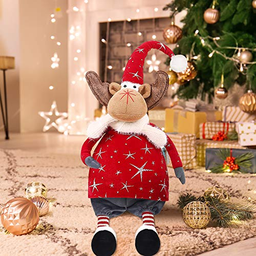 LURLIN Christmas Reindeer Stuffed Plush, Sitting Figurines Elk Doll, Great Gift for Xmas Home Decor Holiday Decoration (23 Inches/Red)
