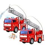 Dinfun Camión de Bomberos - Coches de Juguete con Motor Mini Carro de Bombeo de fricción con Escalera Bomba de Agua Sonidos de Luces para niñas Niños de 3 años (Juego de 2)
