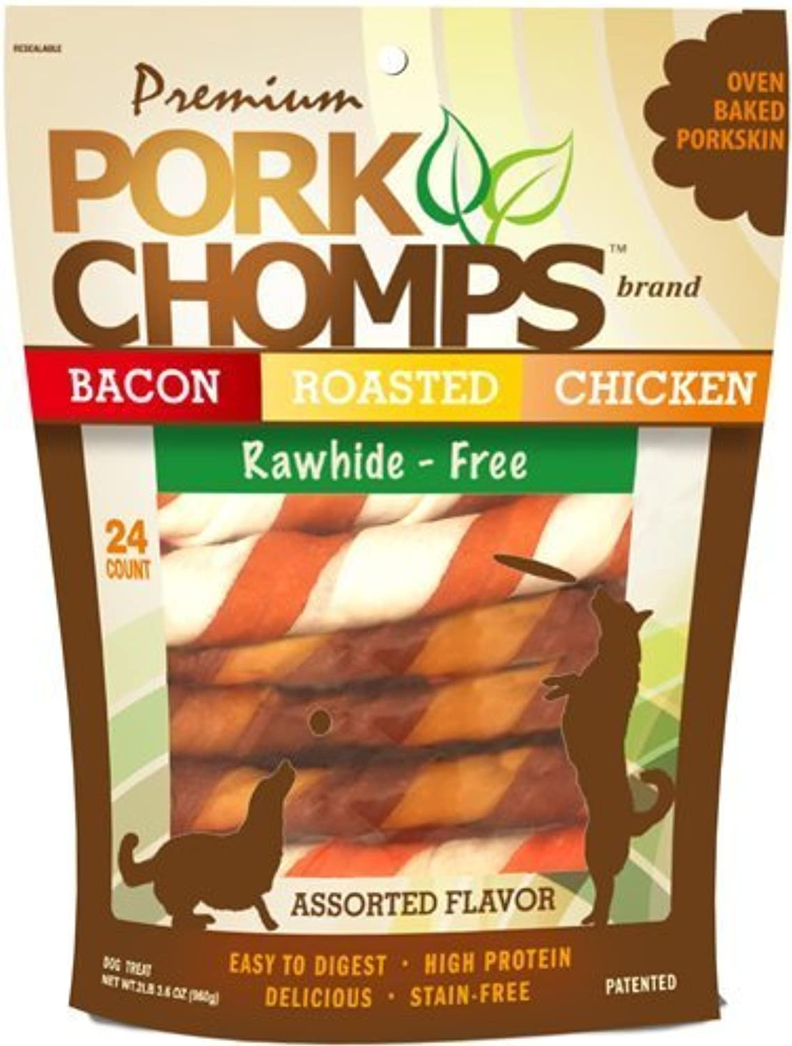 Scott Pet Products 24 Count Pork Chomps Assorted Twistz Treat, 6  by ProMotion Distributing  Direct