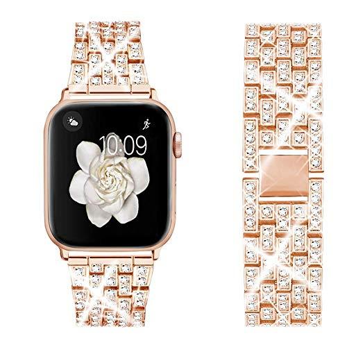 LIUZH Correa de metal compatible con Apple Watch de 38 mm y 40 mm de acero inoxidable para mujeres y niñas, para Apple Watch Series 6, 5, 4, 3, 2, 1 SE (color: dorado, tamaño: 42 mm/44 mm)