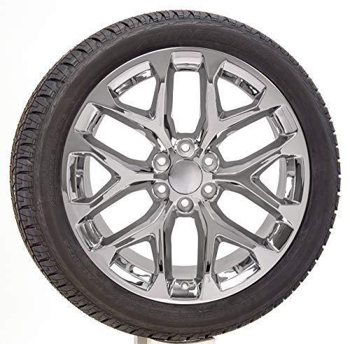 22 Inch Chrome Snowflake Replica Wheels Rims with 285/45R22 Tires Lugs TPMS SET Fits 2000-2018 Chevy Silverado Tahoe Suburban GMC Sierra Yukon Denali Cadillac Escalade