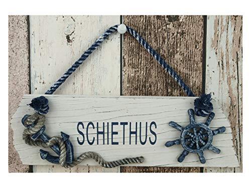 Maritimes Türschild Schiethus mit Anker & Steuerrad ca. 25x8cm Bad Deko CG