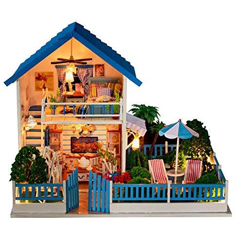 Puppenstuben For Erwachsene Kinder Unterrichtszwecke Geschenke 3D Cozy DIY Holz Miniatur-Puppenhaus-Kits mit LED-Licht kreativer Handarbeit Home Möbel 2 Stufen Baumaschinen Modell beständiger gegen St