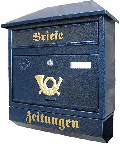 Naturholz-Schreinermeister Großer Briefkasten/Postkasten XXL Blau mit Zeitungsrolle Zeitungsfach Schrägdach Trapezdach
