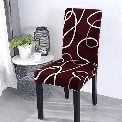Fundas para sillas Cinta Claret Spandex Fundas sillas Comedor Lavable Extraíble Funda Muy fácil de Limpiar Duradera Modern Bouquet de la Boda Hotel Decor Restaurante 4/Piezas