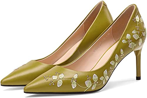 QINGMM Frauen Bestickten Strass Mode Schuhe Leder Spitze Pumps Pumps Pumps Mit Hohem Absatz  zu billig