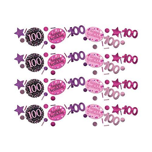Paquete triple de confeti de mesa de cumpleaños para 100 años, color rosa