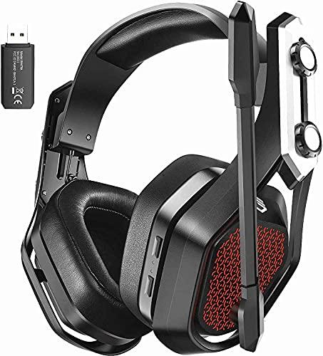 2.4G Wireless Gaming Headset für PS4 PS5 Switch PC Mac, 3D Surround Sound, Kabelloser Gaming Kopfhörer mit Noise Cancelling Mikrofon, USB Dongle & 3.5MM Wired Mode, 20 Stunden Akkulaufzeit
