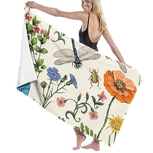 Ewtretr Floral mit Schmetterlingen Mikrofaser Strandtücher Quick Dry Super Absorbent Bathing Spa Pool Handtücher für Schwimmen & Outdoor, 31 '* 51'