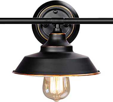 Windsor Home Deco WH-62310, Vanity Light, Retro Industrial Wall Lamp for Bathroom Lighting Over Mirror, Black