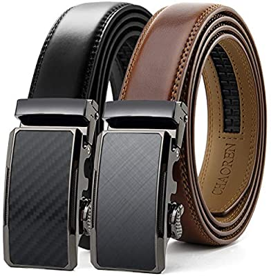 "Chaoren Leather Ratchet Belt 2 Pack Dress with Click Sliding Buckle 1 1/8"" in Gift Set Box - Adjustable Trim to Fit (Weaven Texture Black/Charcoal Depiction Burnt Umber, 46"" to 54"" Waist Adjustable)"