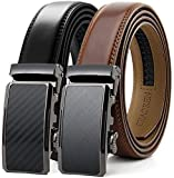 Chaoren Leather Ratchet Slide Belt 2 Pack with Click Buckle 1 1/4' in Gift Set Box - Adjustable Trim to Fit (Ratchet Belts for Men)