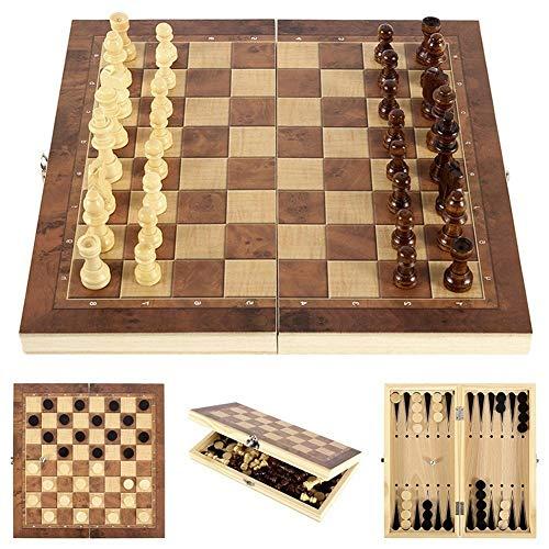 Pilink Juego de ajedrez de madera 3 en 1, plegable, juego de ajedrez internacional, juego de ajedrez portátil de viaje, juego de ajedrez de 24 x 24 x 3,5 cm