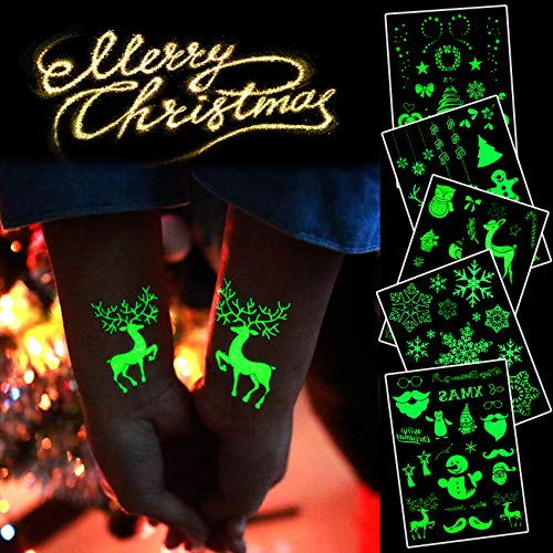 Christmas Temporary Tattoos for Kids,Adult,Stickers Glow in The Dark,Gifts for Birthday Party and Christmas Eve