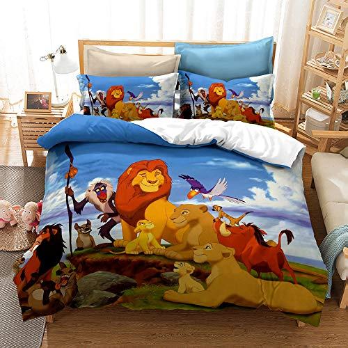 Enhome Duvet Cover Bedding Set for Single Double King Size Bed, Cartoon Lion print for children Microfiber Duvet Set Quilt Case with Pillowcases (Simba The King Lion G,135x200cm)