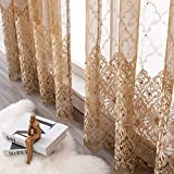 Aside Bside Bead8510 Sheer Curtains for Bedroom Rod Pocket Embroidered Floral Window Curtains 84 inch Length Botanical Geometric Drapes Living Room,1 Panel,Gold Brown