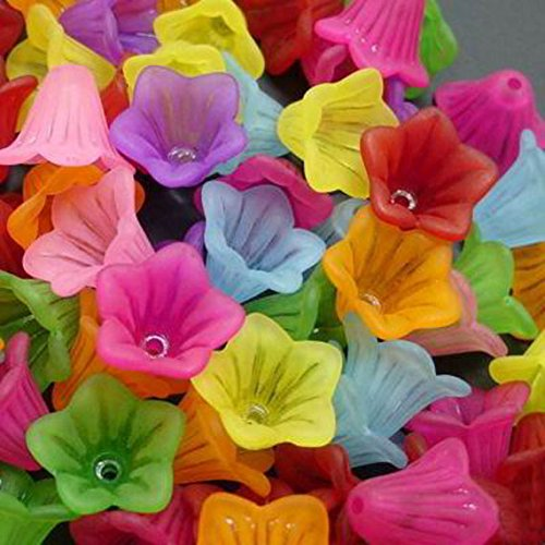Assorted Frosted Acrylic Lucite Bell Flower Beads for Jewelry Making - 14mm (Colorful Multicolor)