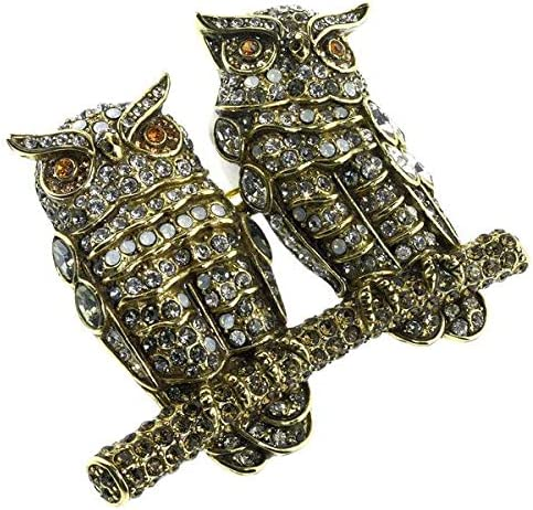 Heidi Daus Year-end annual account Super Special SALE held 20 Sparkle Crystal Pair of Owls Pin