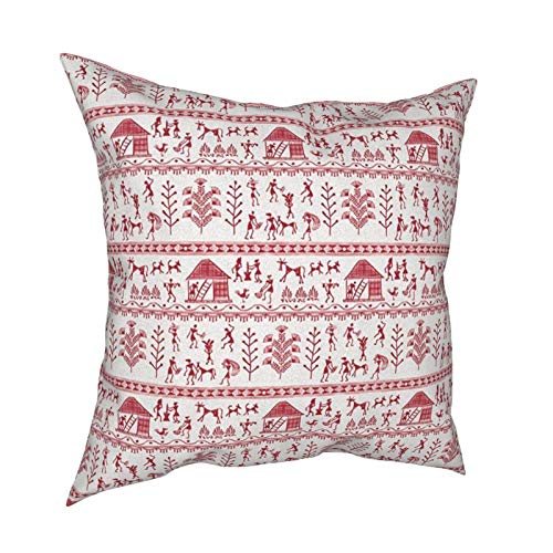 iksrgfvb Pillow Case Cushion Covers East Urban Home Traditional House Ancient Warli Art Square Pillowcases for Living Room Sofa 18 x 18 inch