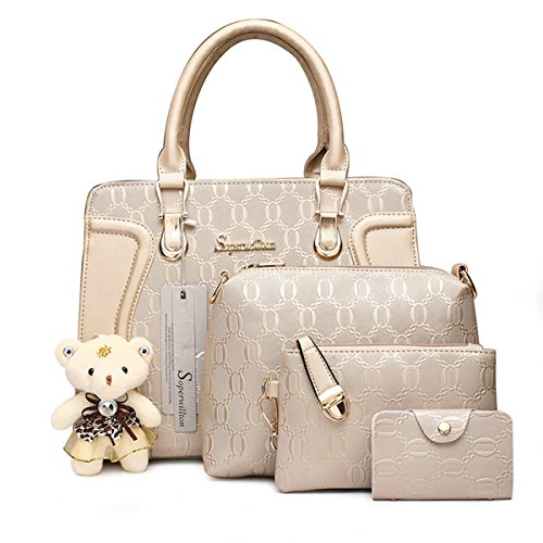 MATERIAL: Made of high quality chain texture synthetic leather with durable gold and smoothly zippers. The stitching goes well and evenly. POCKET: Tote: 1 main compartment, 1 interior zipper pocket and 2 slot pockets. Three small bag include messenge...