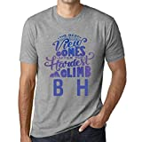 One in the City Hombre Camiseta Vintage T-Shirt Gráfico Best Views Mountains B&H Gris Moteado