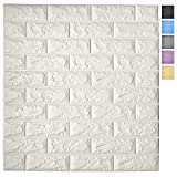 Art3d 11-Pack Peel and Stick 3D Wall Panels for Interior Wall Decor, White Brick Wallpaper, Covers 64 Sq.Ft
