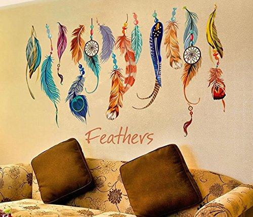 Pegatina Vinilo plumas y atrapasueños decoracion paredes o cristal habitaciones boutiques, salones comedores, probadores, aticos, caravanas,colegios 80 x 50 cm de CHIPYHOME