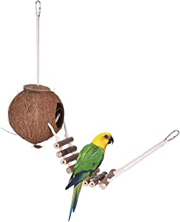 Bird House Nest Coconut Hideaway Perch with Ladder Bird Cage Accessories Swing Toy for Budgerigar Macaw Parakeet Cockatoo