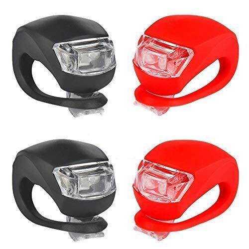 Puzzlos Juego de luces LED intermitentes para cochecito de bebé, de silicona, con clip para linterna, para carritos, corredores, caminadores (2 luces LED blancas y 2 luces rojas)