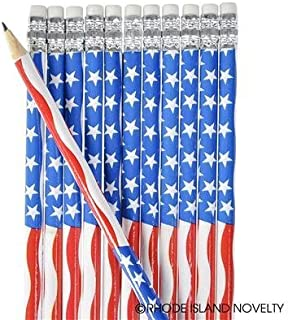RIN 10 Dozen (120) USA Patriotic Pencils Stars & Stripes Design - Schools - 4th of July PARADES or Party Favors - US Flag