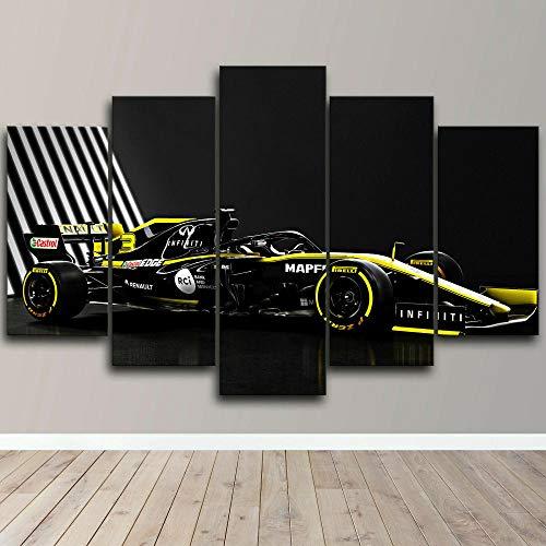 Impression sur toile, 5 panneaux muraux Voiture de course de...